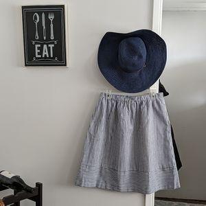 J. Crew striped linen-style midi skirt.